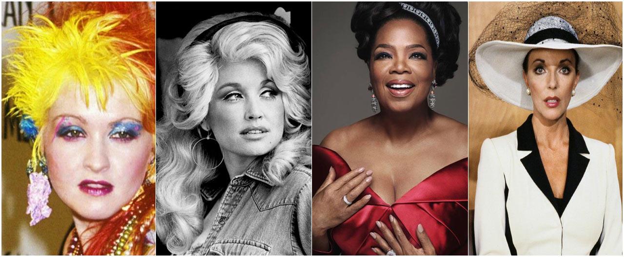 På bilden syns Cyndi Lauper, Dolly Parton, Oprah Winfrey och Joan Collins